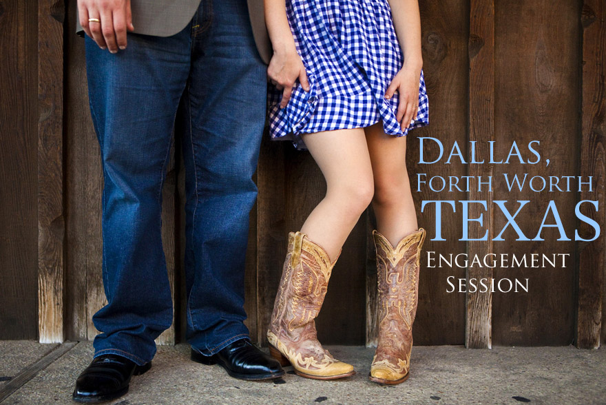 dallas Texas engagement photo session with cowboy boots and dress outside of cowboy boot shop