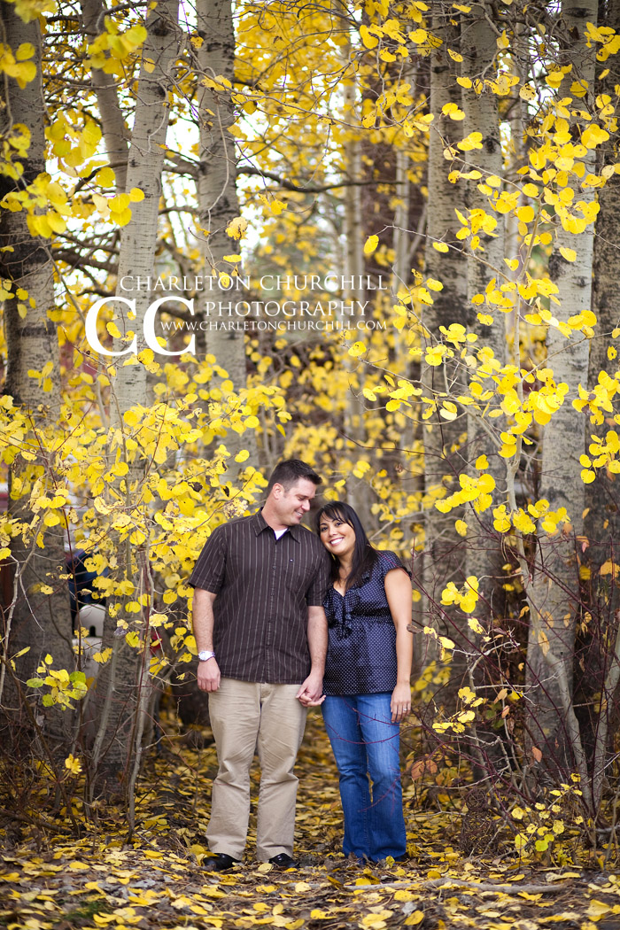 fall colors engaged couple holding hands and smiling