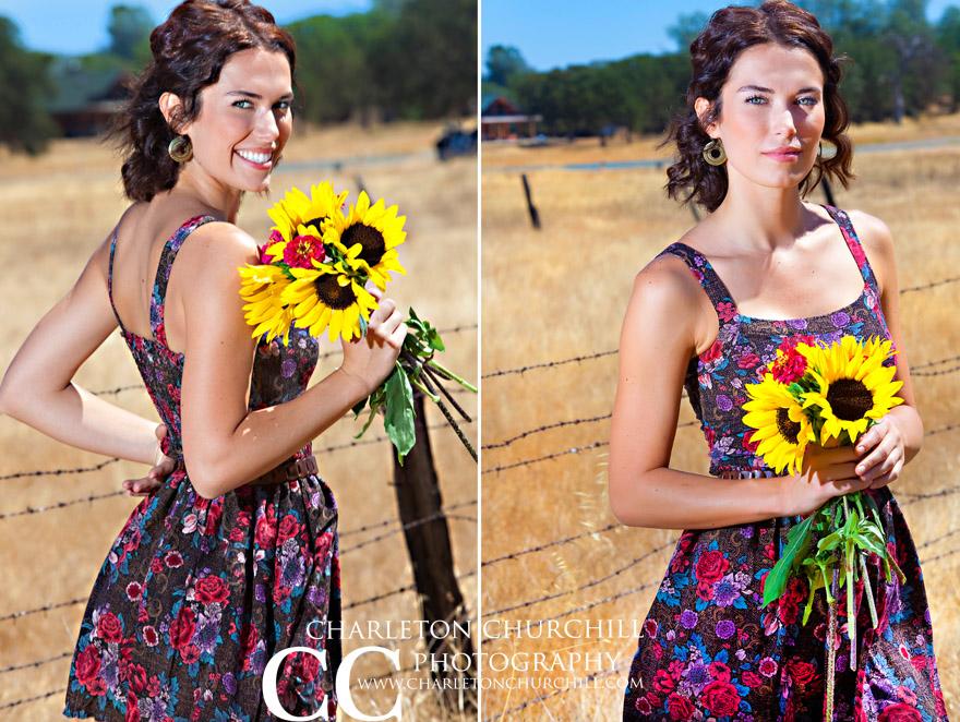 Lynn Holmes model holding daisies