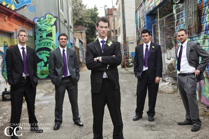 Groom and groomsmen downtown San Francisco for wedding party photographs near Mission Blvd
