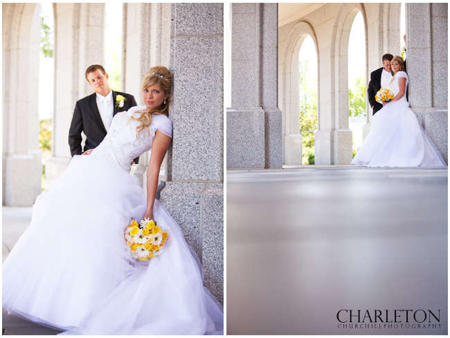 Sacramento LDS Temple wedding with bride and groom