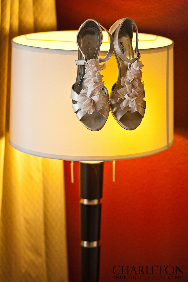 wedding shoes on lamp at Hyatt hotel