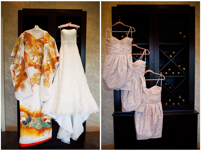 dresses and bridesmaids dresses at the Napa Silverado resort Wedding