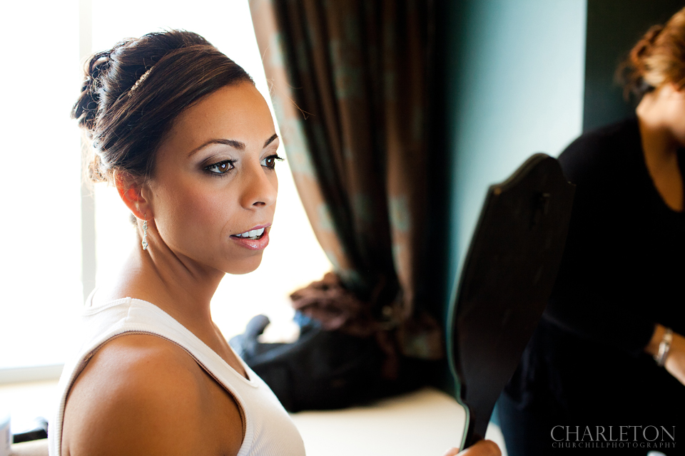 sacramento bride looking into mirror