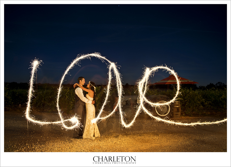 wedding couple photo with sparklers in Amador County photography
