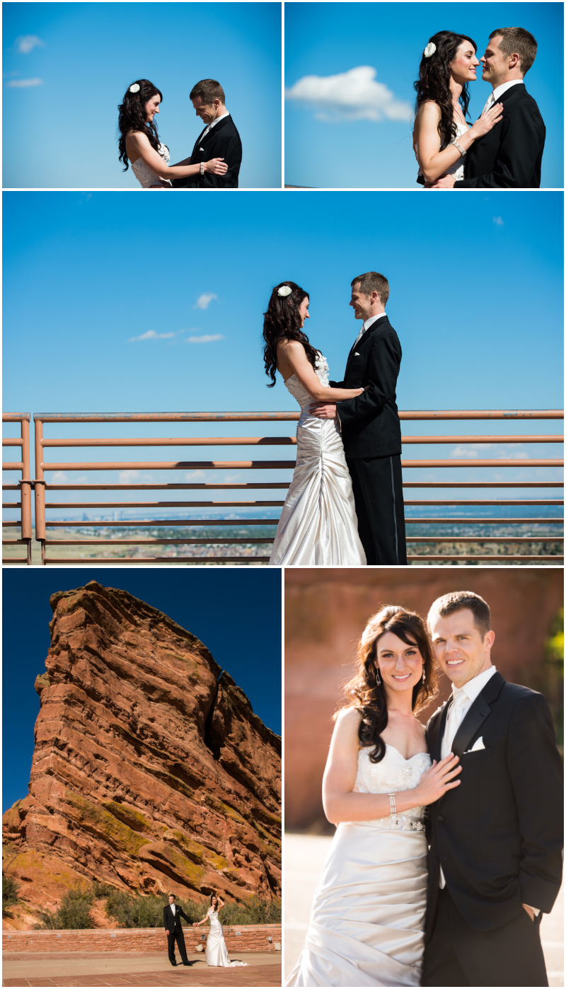 red rocks amphitheater wedding photographer shooting bride and groom first look