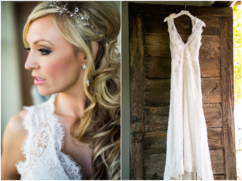 bride dress at wooden sandy home near monterey wedding