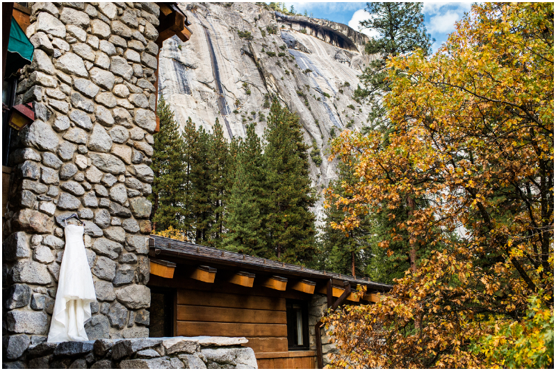 bridal dress hanging on rocks of ahwahnee hotel