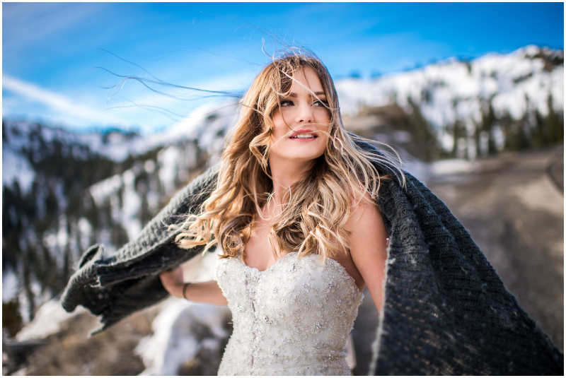 tahoe bride photographer shooting bridal session in rustic mountains