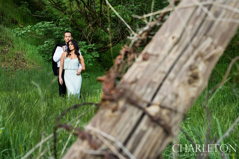 rustic engagement photography in the woods