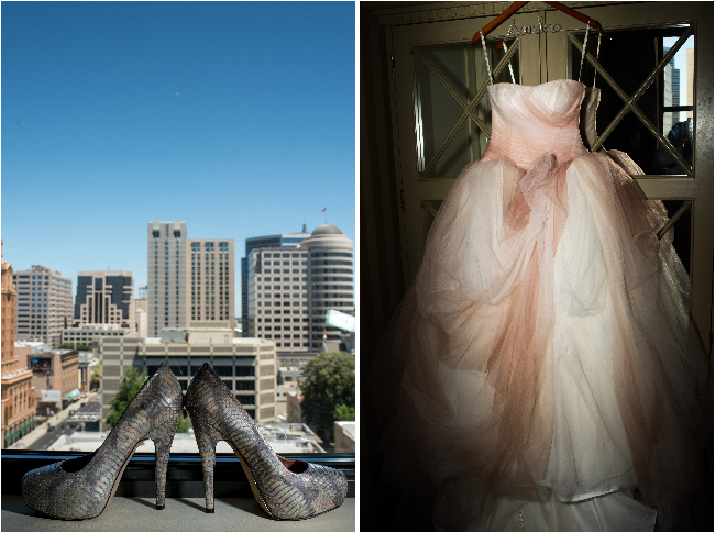 bridal dress and shoes in hotel of Citizen hotel sac
