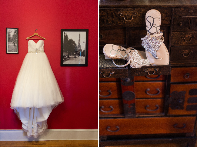 wedding dress paris photography on the wall and shoes