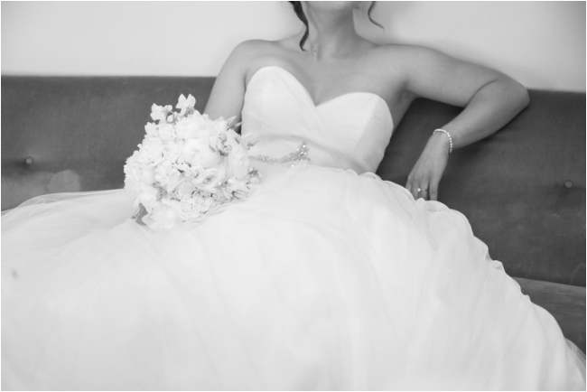 wedding dress on couch of house in sutter creek home