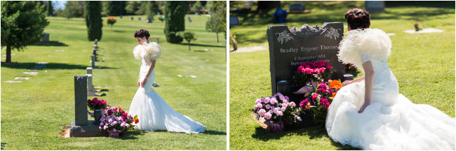 bride at grave site remembering father on wedding day