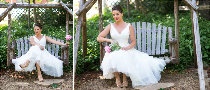 bride on wooden swing with bouquet pink flower