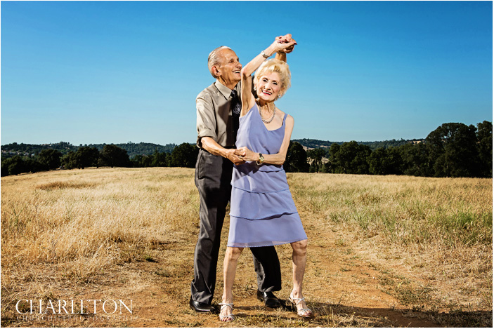 San francisco chronicle front cover page photo with older couple dancing by wedding photographer Charleton