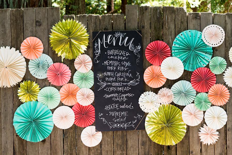 colorful wedding details and food menu