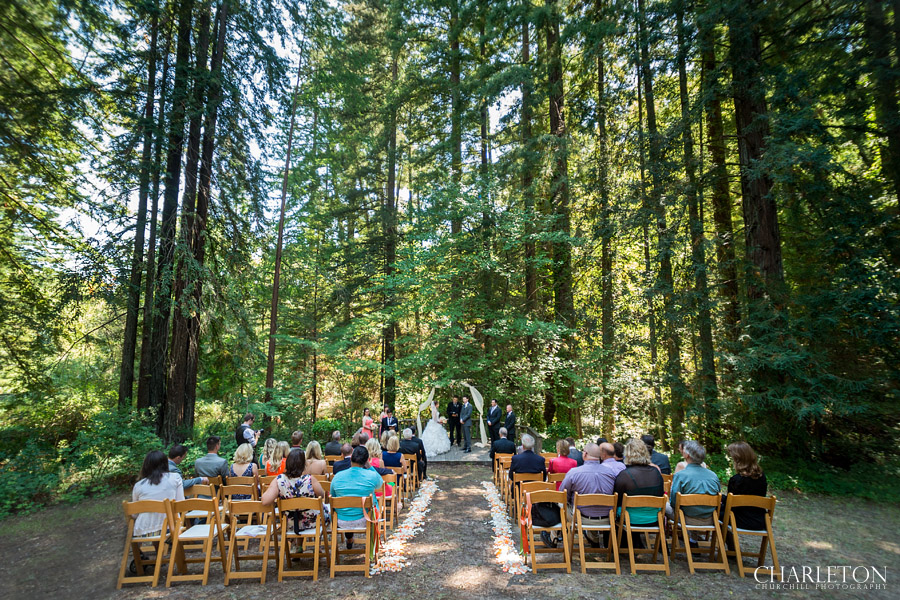 full ceremony site photos at griffith woods with all guests and wedding party
