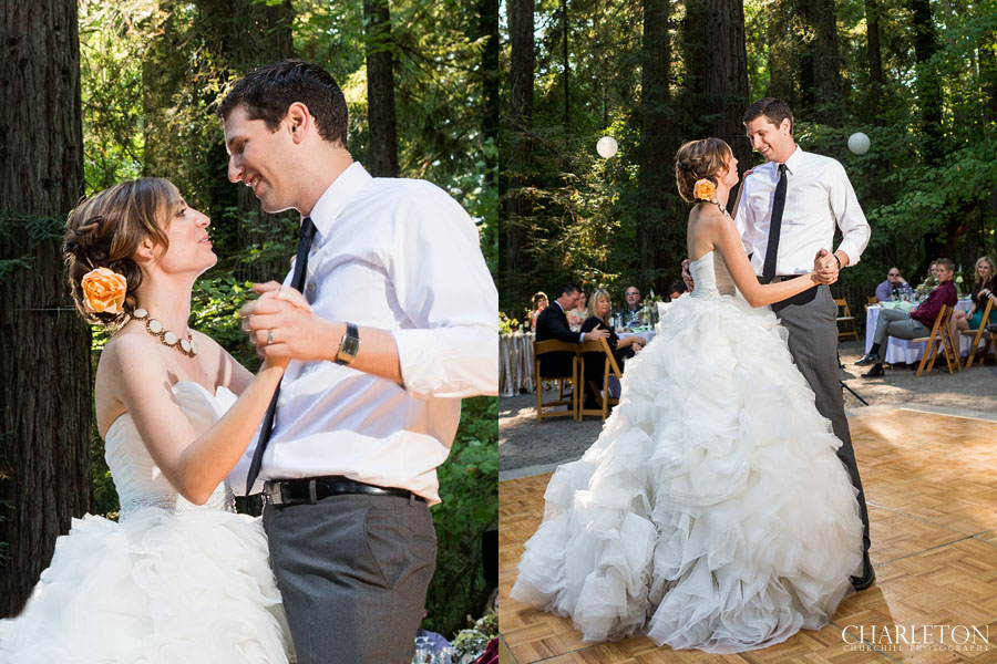 first dancing of couple on forest dance floor with trees in the background