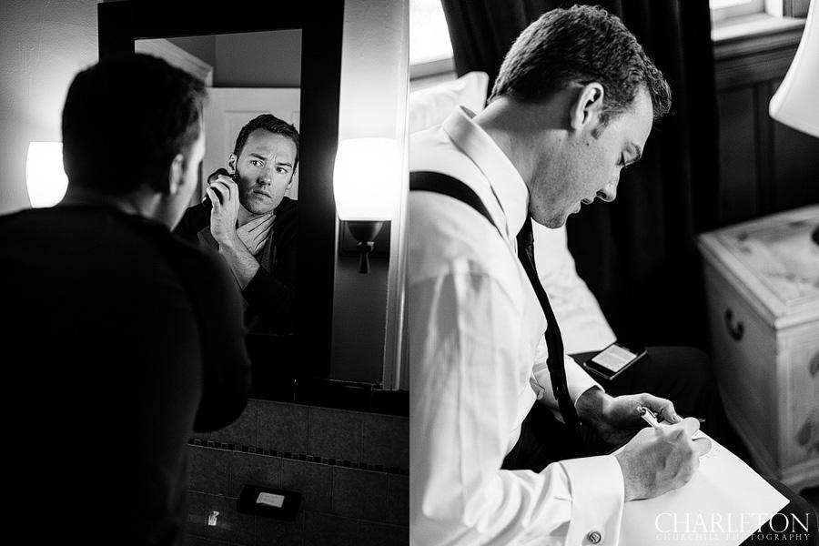 groom getting ready at monte verde inn