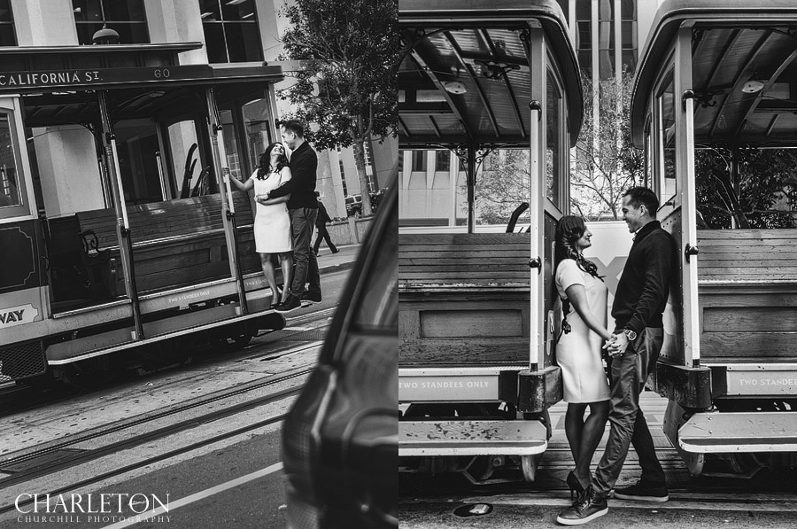 S.F. Trolley cable car photos with engaged couple