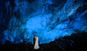 wedding photography in an Ice-cave of alaska adventure photography