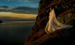 norway bride during sunset with photographer Charleton Churchill, adventure wedding