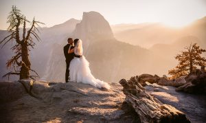 adventure wedding at yosemite with half-dome in the background by Charleton Churchill Photographer