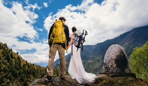 wedding in the himalayas with backpacking couple marrying in the mountains