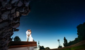 reflection water picture of bride and groom
