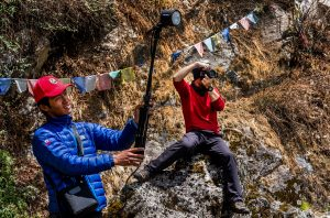 photographer charleton churchill on Mt. Everest near base camp during wedding day