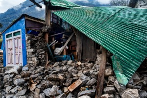 rock and rubble in lukla village