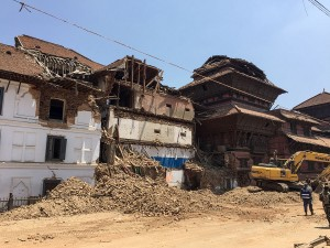 old rubble and bodies downtown kathmandu