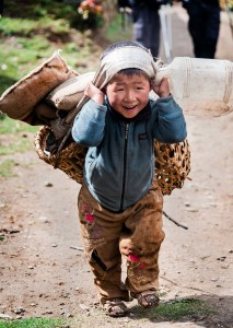 sherpa boy in village of nepal