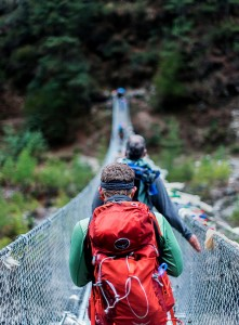 walking across everest suspension bridges
