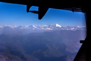 view of the himalayas while flying to Lukla airport