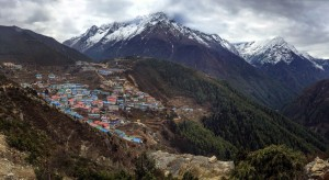 the village of namche bazaar panorama