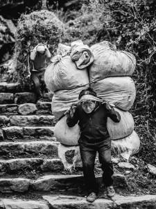 nepal sherpa carrying load