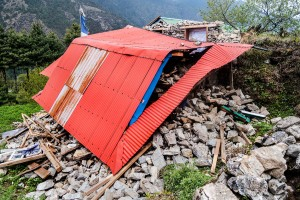 crushed home in nepal everest base camp village