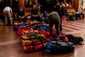 organizing our north face bags for mt everest trek