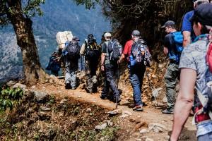 everest trekking group hiking along trail