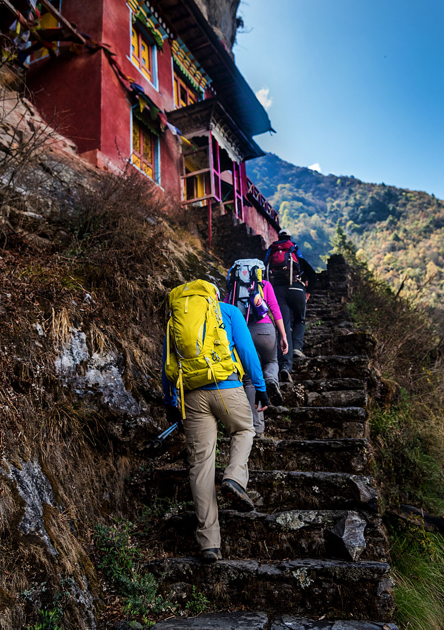 wedding couple heading up below base camp to get married