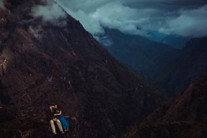wedding photography of couple on mt. everest trek with BHLDN dress