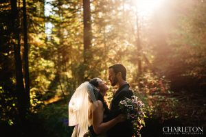 beautiful forest wedding couple