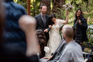 arnold wedding couple celebrating at lodge
