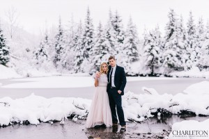 wedding couple snow photos in icy lake