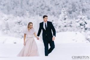 winter wedding photos in dress and suit