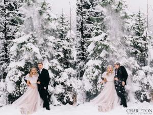 couples wedding photos snow falling