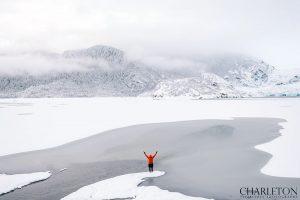 Assistant Kevin testing glacier