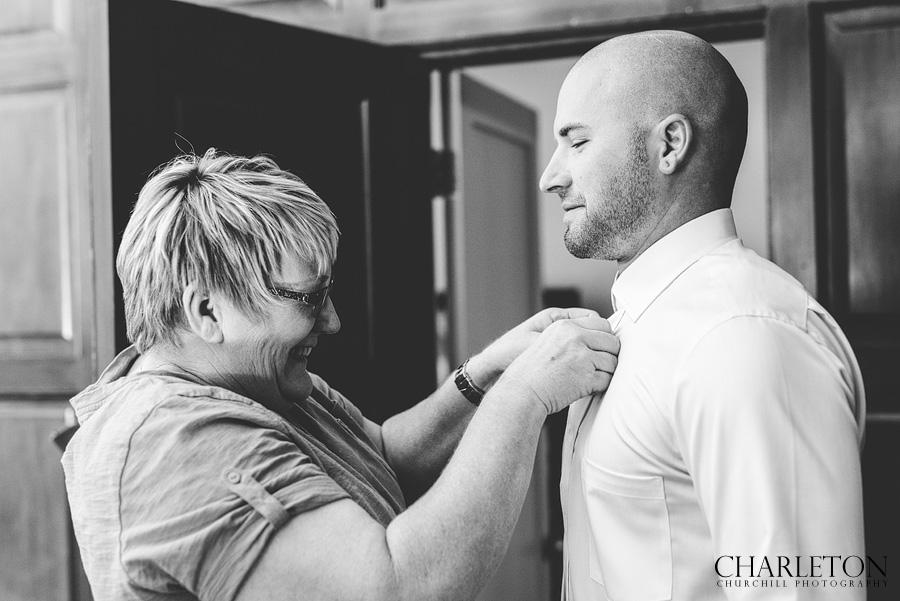 stylish groom getting ready at Ahwahnee